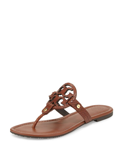 Tory Burch Miller Snake-Embossed Logo Flat Sandal, Brown