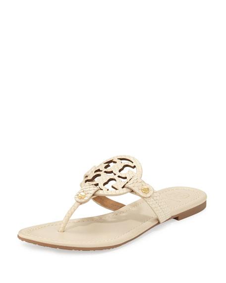 Miller Snake-Embossed Logo Flat Sandal, Dulce de Leche
