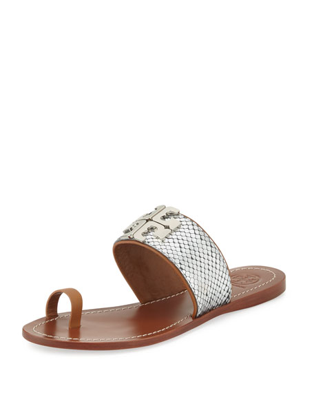 Tory Burch Lowell 2 Snake-Embossed Toe-Ring Sandal, Silver/Royal Tan