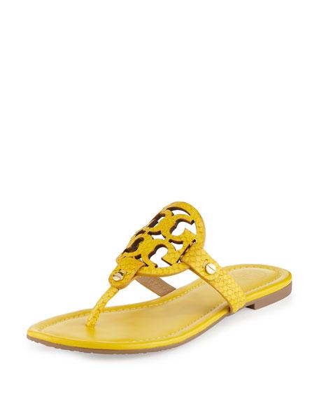 Tory Burch Miller Snake-Embossed Logo Flat Sandal, Sour