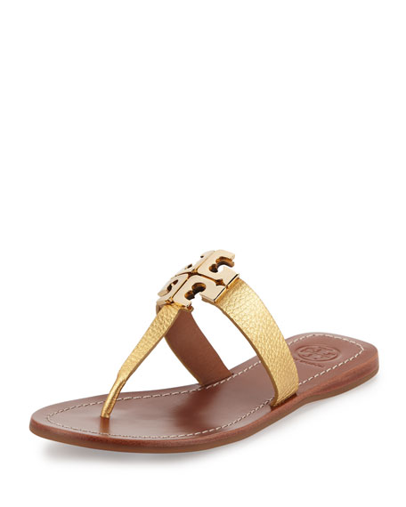 Tory Burch Moore 2 Flat Leather Thong Sandal, Gold
