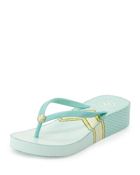 Thandie Printed Wedge Flip-Flop Sandal, Shore/Sarno - Tory Burch Thandie Printed Wedge Flip-Flop Sandal, Shore/Sarno