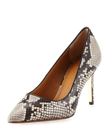 Tory Burch Elana Snake-Embossed 85mm Pump, Roccia