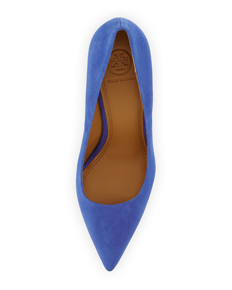 Elana Suede 85mm Pump, Jelly Blue