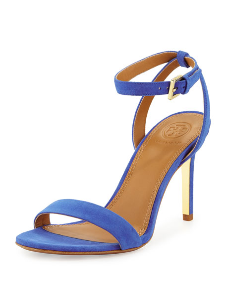 Tory Burch Elana Suede 85mm Sandal, Jelly Blue