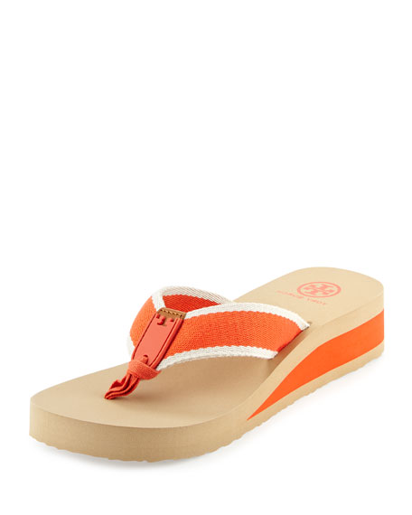 Tory Burch Wilhelm Wedge Flip-Flop Sandal, Poppy Red/Ivory/Royal