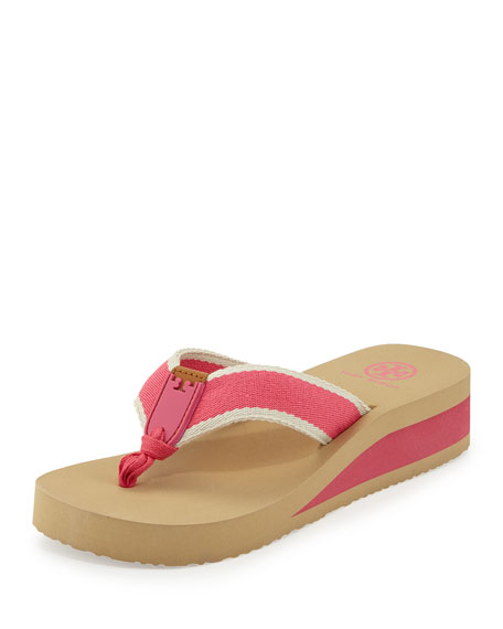 Tory Burch Wilhelm Wedge Flip-Flop Sandal, Fiesta/Ivory