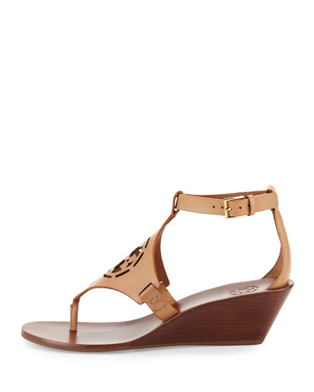 Tory Burch Zoey Leather Logo Wedge Sandal Sand