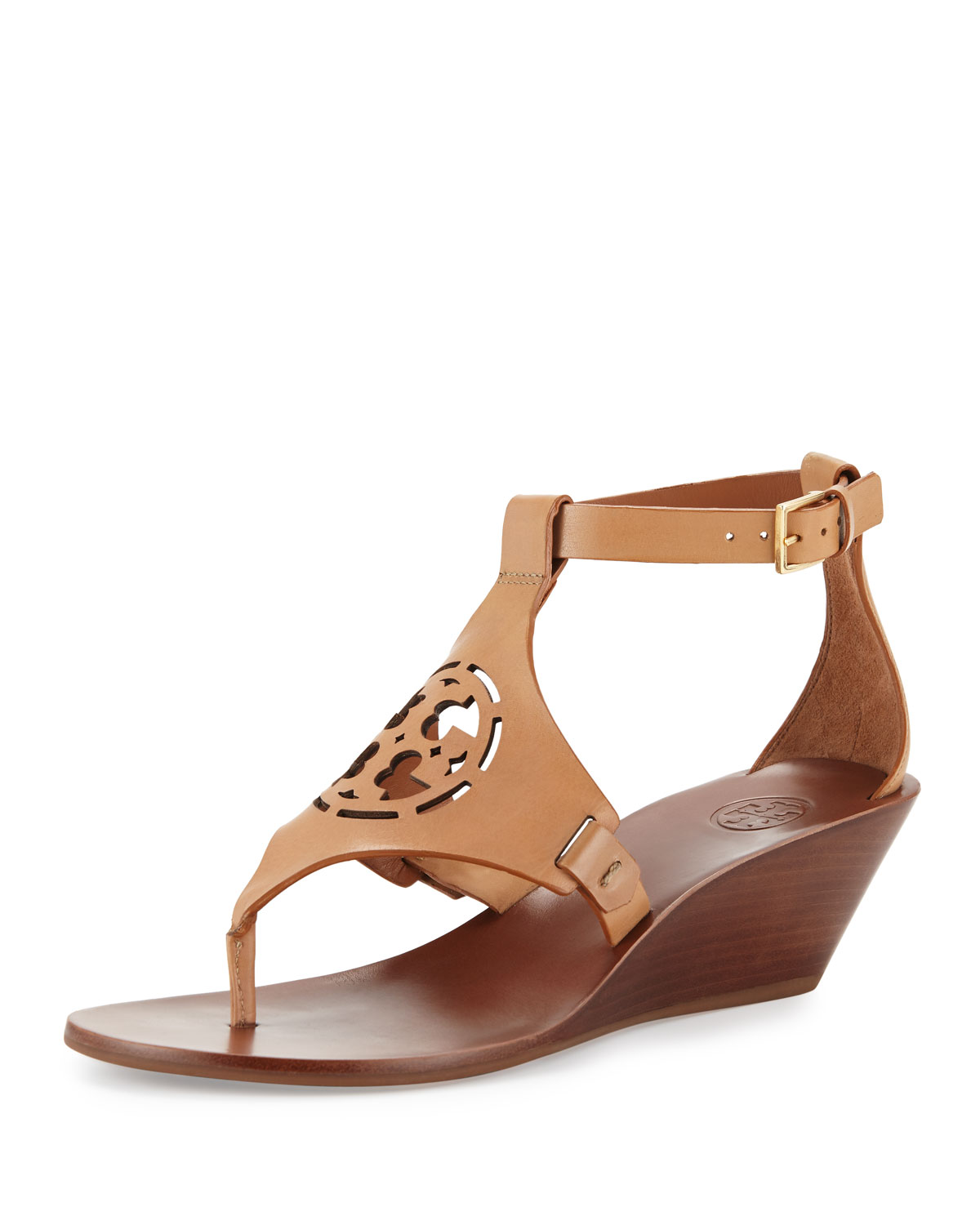 ef6020fbda47a Tory Burch Zoey Leather Logo Wedge Sandal