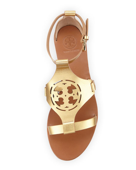 Zoey Leather Logo Flat Sandal, Gold