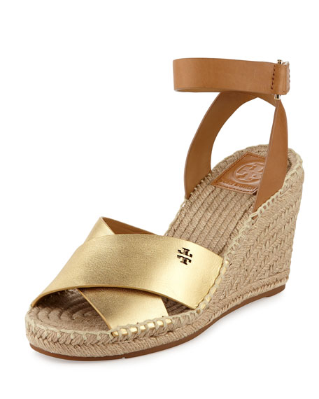 Tory Burch Bima Leather Wedge Espadrille Sandal, Gold/Royal
