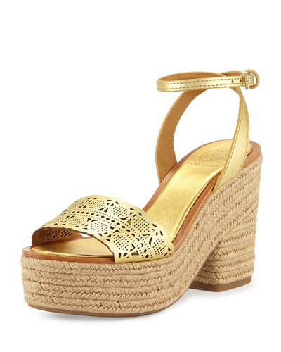 Roselle Leather 100mm Platform Espadrille Sandal, Gold