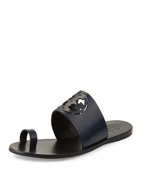 Zoey Leather Logo Toe-Ring Sandal, Bright Navy