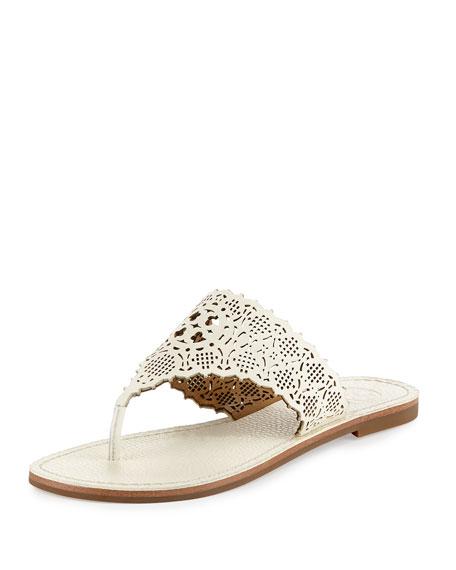Tory Burch Roselle Laser-Cut Thong Sandal, Ivory