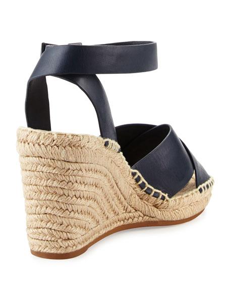 Bima Leather Wedge Espadrille Sandal, Bright Navy