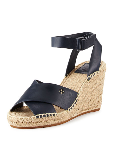 Tory Burch Bima Leather Wedge Espadrille Sandal, Bright