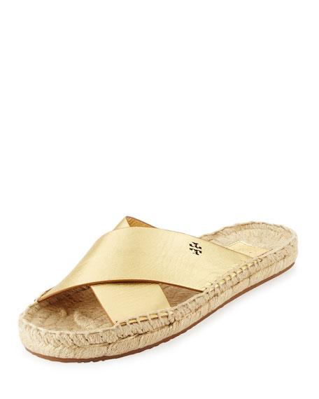 Tory Burch Bima Metallic Flat Espadrille Slide Sandal,