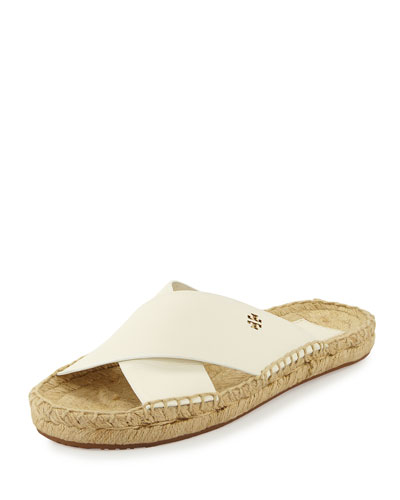 2ef6cf3a30f Tory Burch Bima Leather Flat Espadrille Slide Sandal