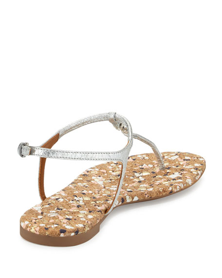 Marion Confetti Quilted T-Strap Sandal, Silver
