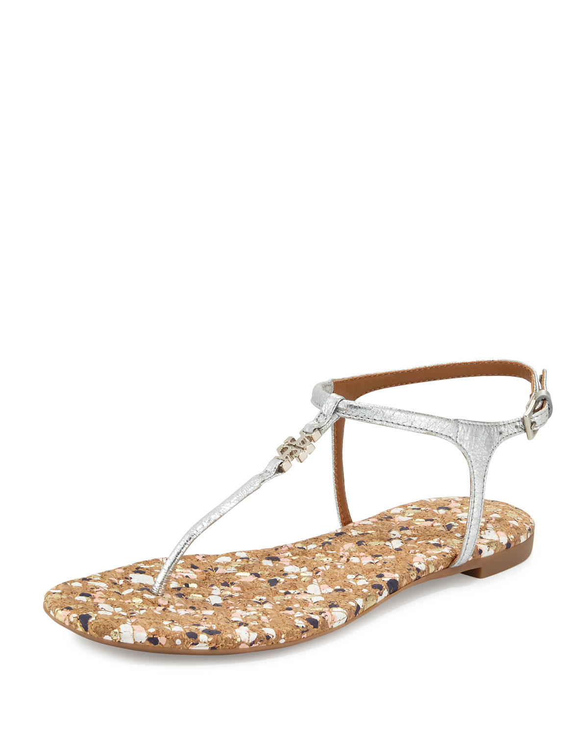 ed8cb5e56 Tory Burch Marion Confetti Quilted T-Strap Sandal