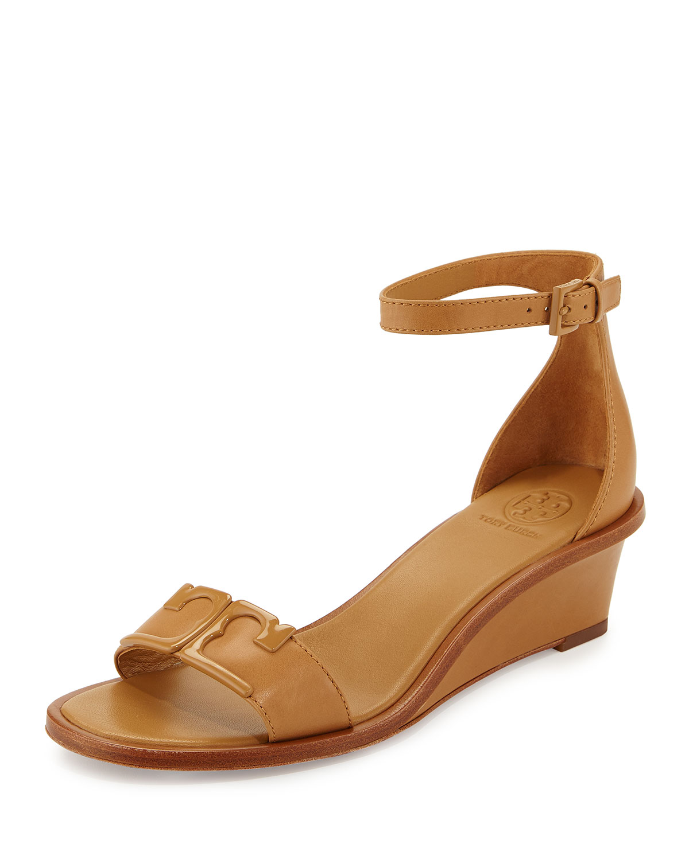 e94a3509029 Tory Burch Marcia Leather Demi-Wedge Sandals