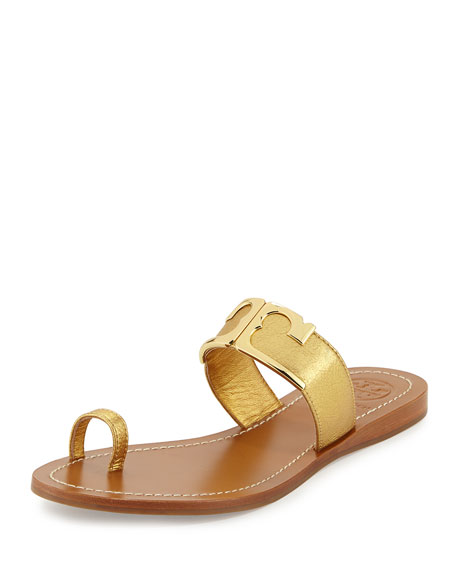 Marcia Metallic Toe-Ring Sandal, Gold