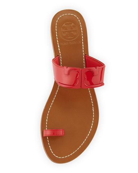 Marcia Patent Toe-Ring Sandal, Brilliant Red
