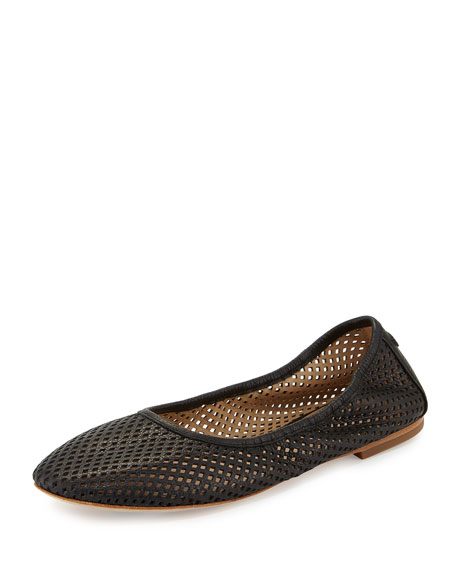 Tory Burch Whittaker Perforated Leather Ballerina Flat, Black