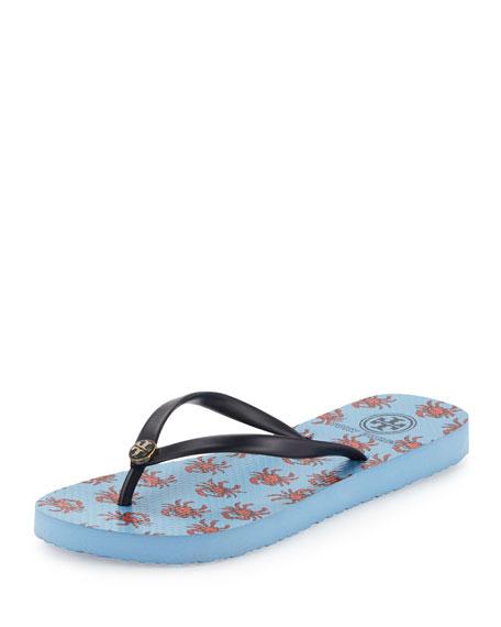 Tory Burch Crab-Print Thin Thong Sandal, Vista Blue/Crab