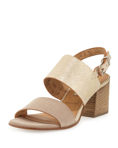 Dione Metallic Suede City Sandal, Sabbia/Platino