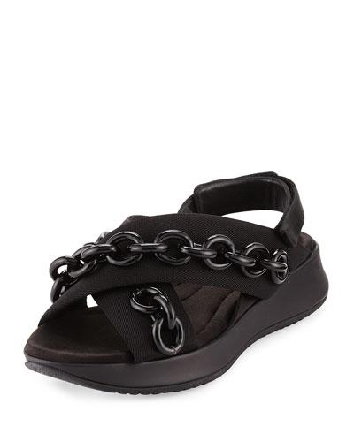 Actonshire Chain Crisscross Sandal, Black