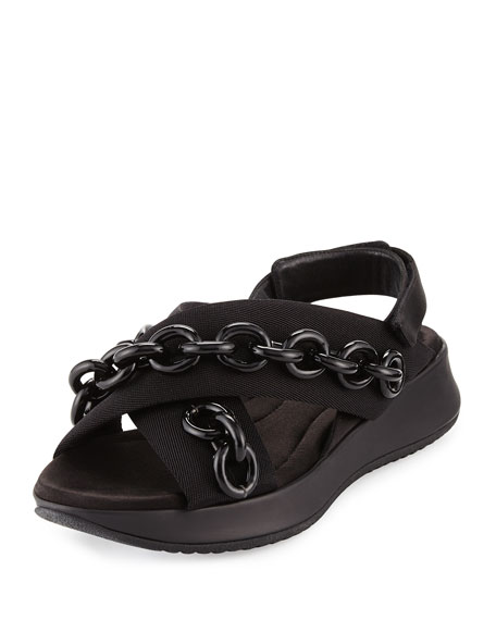 Burberry Actonshire Chain Crisscross Sandal, Black