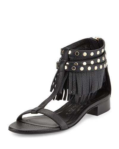 Burberry Abercorn Studded Fringe Sandal, Black