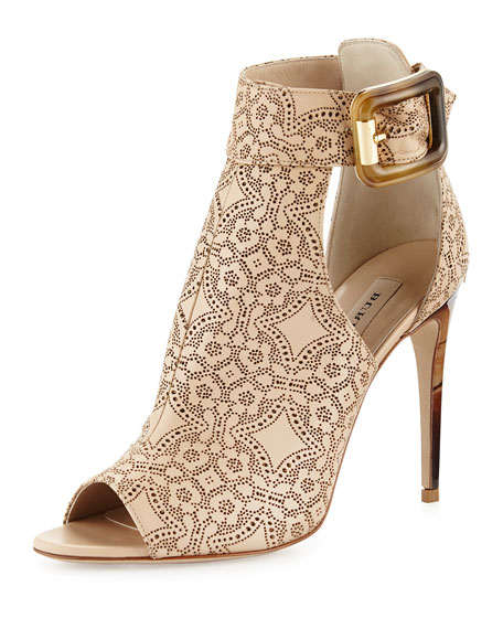 Canbury Laser-Cut Leather Sandal, Antique Taupe Pink