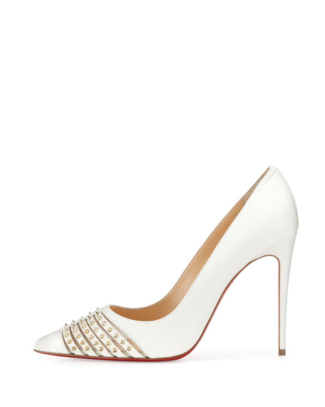 christian louboutin replicas shoes - Christian Louboutin Baretta Studded Red Sole Pump, White