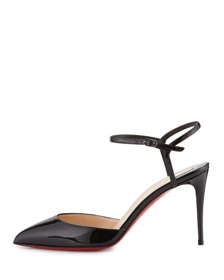 Christian Louboutin Rivierina Patent Ankle-Wrap Red Sole Pump, Black