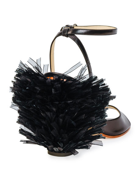Pom-Pom Leather Sandal, Black