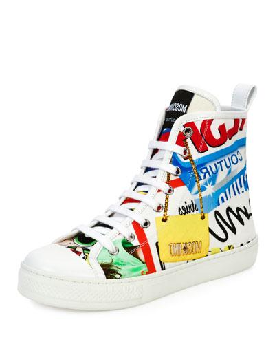 Graffiti Lace-Up High-Top Sneaker, White/Multi