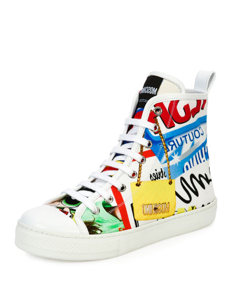 Graffiti Lace-Up High-Top Sneaker, White/Multi