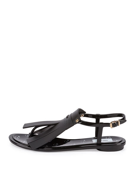 Fringe Jelly T-Strap Sandal, Noir