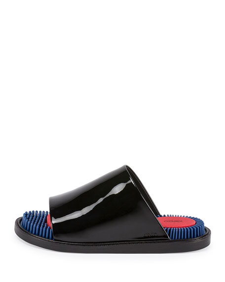 Massage Patent Slide Sandal, Noir