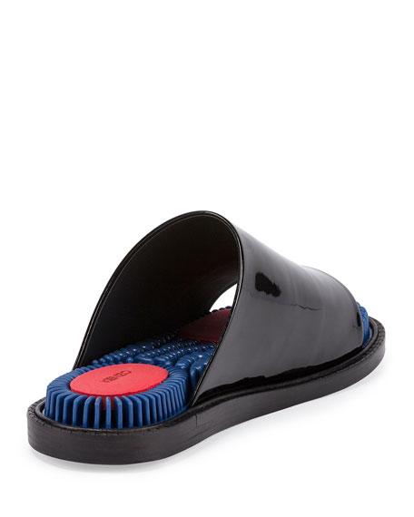 Massage Patent Slide Sandals, Noir