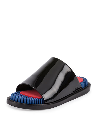Massage Patent Slide Sandal, Noir