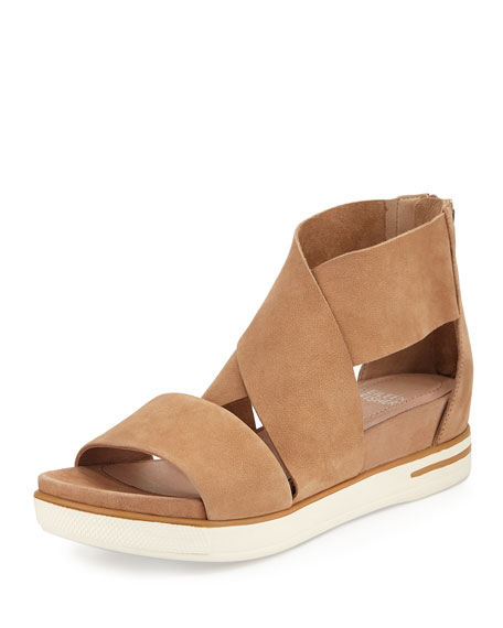 Eileen Fisher Sport Wide-Strap Leather Sandal, Wheat