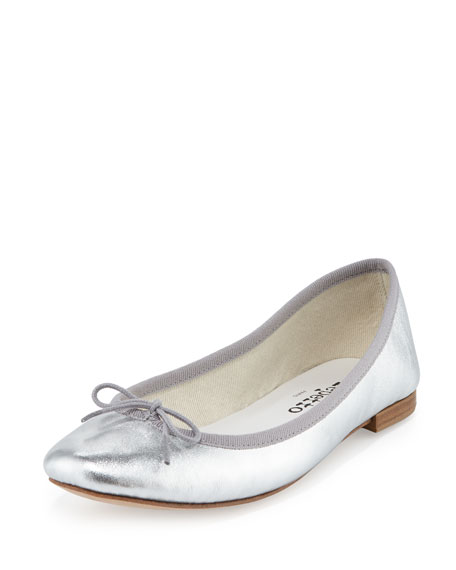 Repetto Cendrillon Metallic Leather Ballerina Flat, Silver