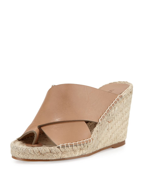 Vince Suraya Crisscross Leather Wedge Mule, Sand