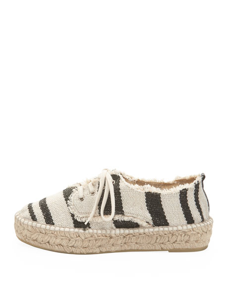 Alfie Raffia Striped Flatform Espadrille, Black/Natural