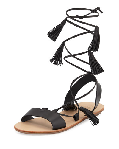Saffron Leather Tassel Flat Sandal, Black