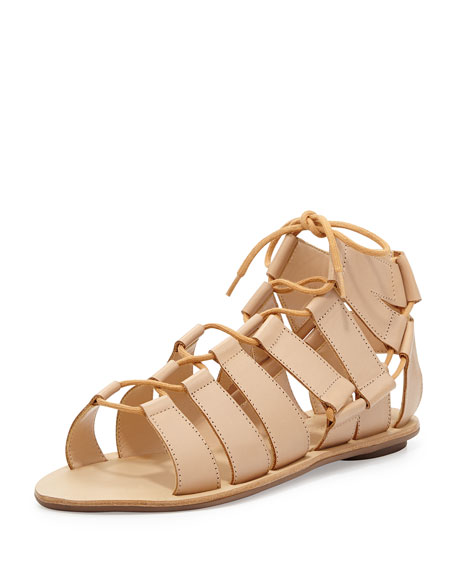 Loeffler Randall Skye Leather Flat Gladiator Sandal