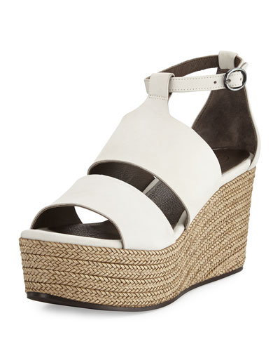 Reed Leather Wedge Sandal, Igloo